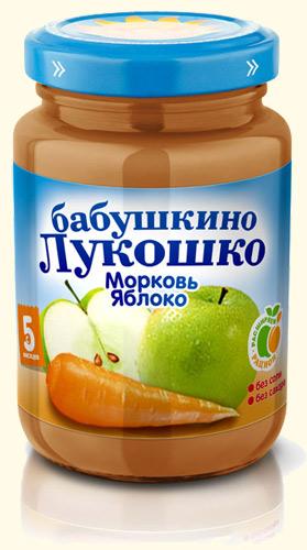 бабушкино лукошко пюре яблоко/творог 5 100г