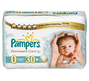 Pampers Premium Care 0 (1-2,5 кг) 30 шт