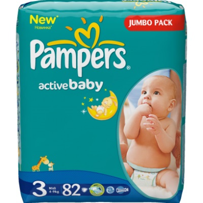 Pampers Подгузники Active Baby 3 (4-9 кг) 82 шт.