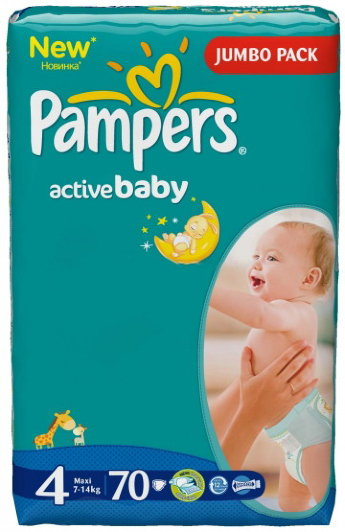Pampers Подгузники Active Baby 4 (7-14 кг) 70 шт
